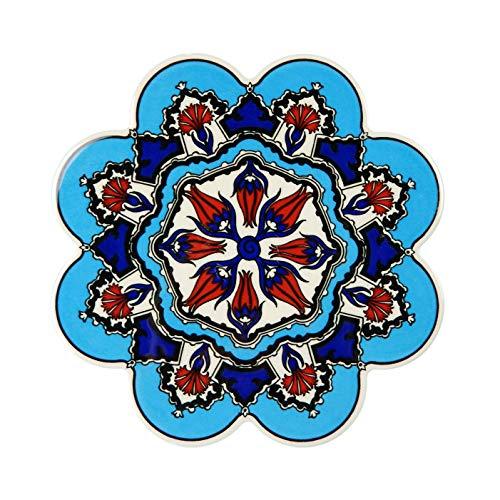 Bebek Hand Art Ceramic Trivet By EuroHand - Ottoman Anatolian Decorative Organic Paint Iznik Trivet - Scratch Proof Machine Washable Foam Backing Heat Resistant Housewarming Gift 1
