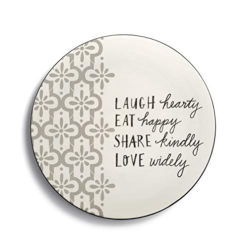 Laugh Hearty Eat Happy Grey Cream 9 x 9 Ceramic Stoneware Serving Trivet