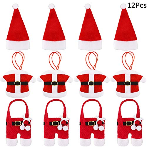 12 Pieces Santa Claus Flatware Holder Christmas Cutlery Bag Christmas Tableware Holder Xmas Party Dinner Table Decorations