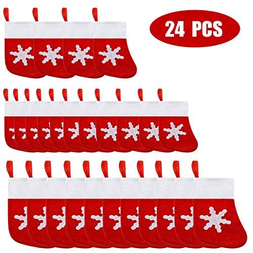 Alanfox 24 Pcs Christmas Stockings Dinner Table Decorations Mini Snowflake Tableware Holder Christmas Tree Decoration Candy Pouch Knife Spoon Fork Bag Mini Bag