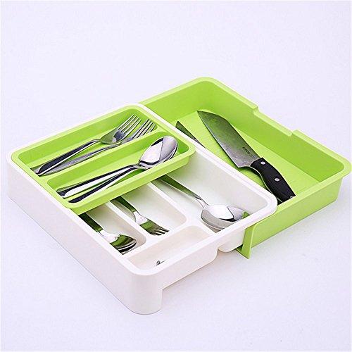 Stock Show ExpandableStackableMovableAdjustable Plastic Cutlery Tray Kitchen Utensil Drawer Organizer Tableware Holder Silverware StoreGreen