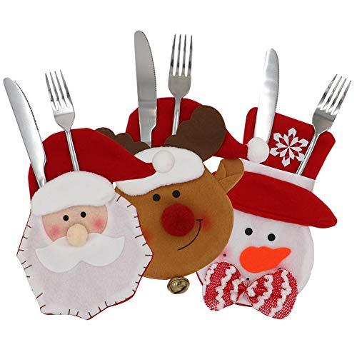 Wmbetter Christmas Cutlery SetsGift BagTableware HoldersSilverware Holder Pockets for Christmas Table Decoration Set of 3SnowmanSantaElk Style