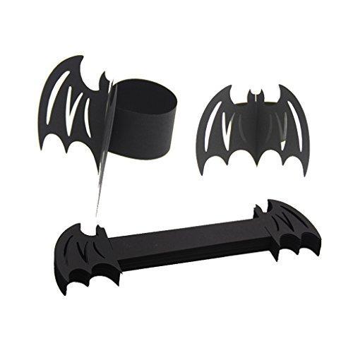 Dovewill 50x Paper Napkin Rings Napkin Buckles Holder Halloween Banquet Dinner Tableware - Black Bat