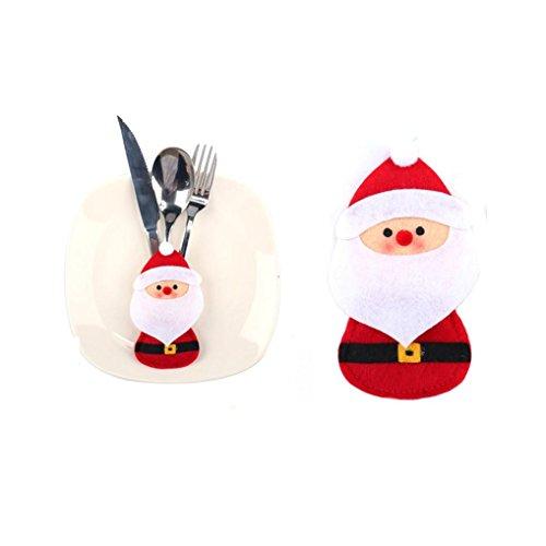 Quartly Christmas Tableware Knife Forks Bags Silverware Holders Pockets Christmas Dinner Cutlery Decoration Snowman Elk Santa Claus Bag A