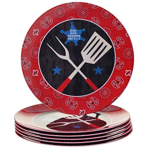 Certified International Corp BBQ Bandit Melamine Dinner Plate Set of 6 11 Multicolor