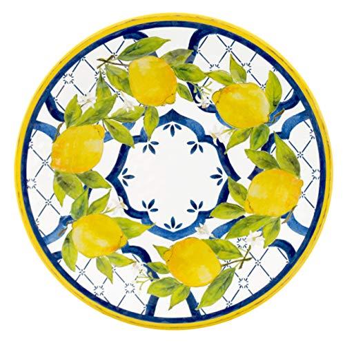 Le Cadeaux 237PAL Palermo Melamine Dinner Plate Set of 4 Lemon