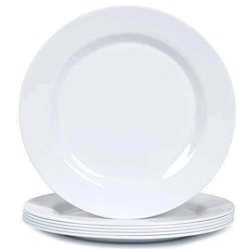 Melamine Dinner Plates Set - 10 34 Inch Dinner Dishes Set 6pcs White Dishwasher Safe
