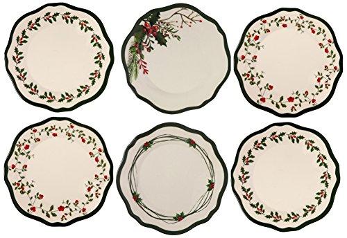 Melange 6-Piece 100 Melamine Dinner Plate Set Berries Collection   Shatter-Proof and Chip-Resistant Melamine Dinner Plates