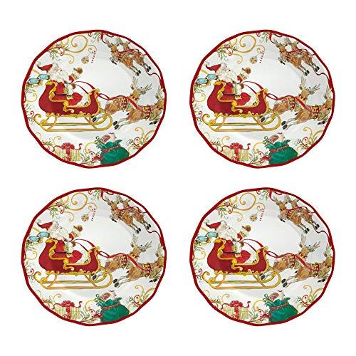 Rustico Santa Sleigh Heavyweight Melamine Dinner Plates Set of 4