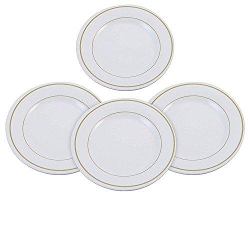 Set of 4 Melamine 9 Dinner Plates - Stain Chip and Break Resistant Good for RVs