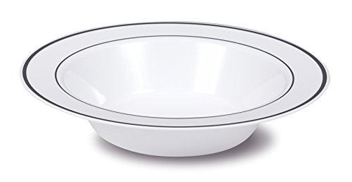 Select Settings 50 12 oz Soup Bowls - White with Silver Rim Plastic Disposable Bowls