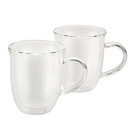 BonJour Coffee Insulated Borosilicate Glass Cappuccino Cups 2-Piece Set 8-Ounces Each