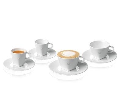 Nespresso 2 PURE Espresso Cups 2 PURE Cappuccino cups 4 Saucers
