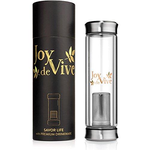 Tea Tumbler with Infuser by Joy De Vive - Tea Cup with Loose Leaf Tea Strainer Travel Tea Mug Glass Water Bottle Hot Iced Tea Maker 14 oz