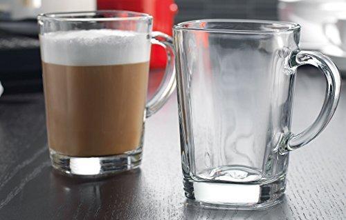 Stylish Square Glass Coffee Mug with Handle - Set of 4 Clear and High Quality Glass Tea Cups Set ~ 135 Oz
