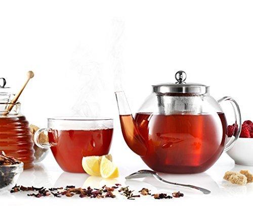 Francois et Mimi Borosilicate Glass Tea Pot with Tea Infuser Micro-mesh Filter 40oz