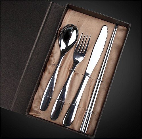 Get Orange Cutlery Home Use Stainless Steel Western Tableware 4-Piece Dinnerware Set knife fork spoon chopstick