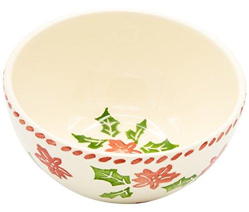 Euro Ceramica Natal Collection Festive 59 Ceramic CerealSoup Bowls Set of 4 Holiday Holly Design Multicolor