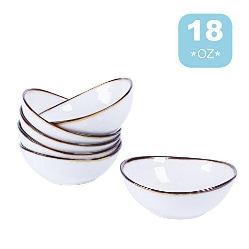 Salad Bowl Dessert Bowl 18oz Set of 6 Porcelain Bowls White Perfect For SoupCerealSaladDessert SUPER BOWL