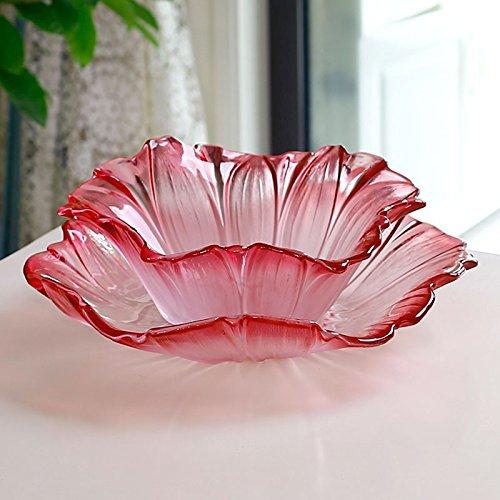 FYYDGZ Originality Crystal Glass Fruit Dish Suit Modern Living Room Large Sunflower Dry Fruit BowlGules