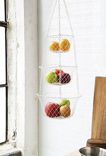 Metal Hanging Wire Basket - 3 Tier Hanging Fruit Vegetable Kitchen Storage Basket - Colors may vary