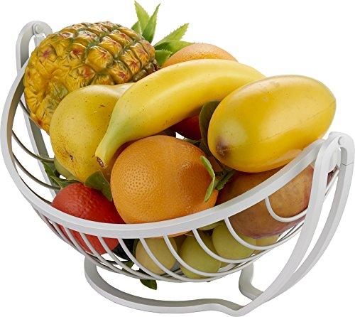 Surpahs Aluminum Countertop Fruit  Vegetable Basket Display Stand Metallic Silver