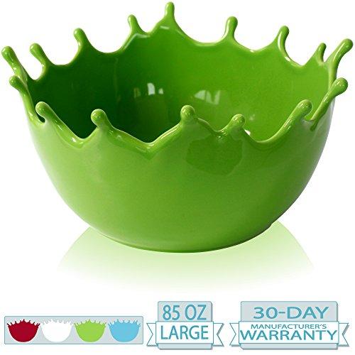 Premium Large Salad Bowl - Serving Bowl - Fruit Bowl - Candy Dish - Decorative Centerpiece Bowl - Best for Serving Fruit Salad Candy Popcorn Punch Chips Pasta - Unique Modern Design - Ceramic Green