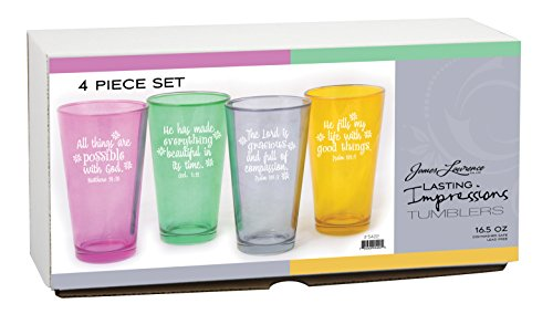Inspirational Bible Verse Multicolor 16 oz Glass Tumblers - Set of 4