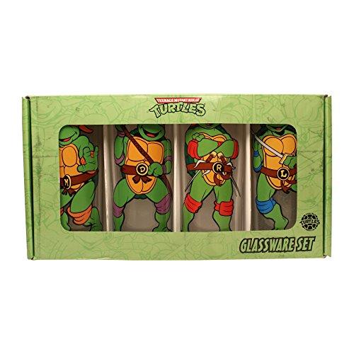 Silver Buffalo NT031T4 Nickelodeon Teenage Mutant Ninja Turtles TMNT Characters Pose 4 Piece Glass Tumbler Set 10 oz Clear