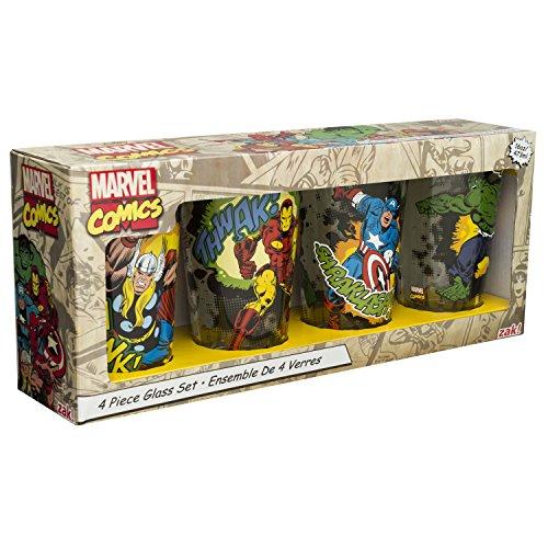 Zak Designs MRTI-4241 Marvel Comics Retro Glass Tumbler Set of 4 16 oz Multicolor