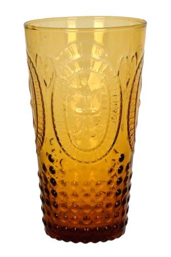 Zrike Brands Renaissance Pressed Glass Tumbler Amber Set of 4