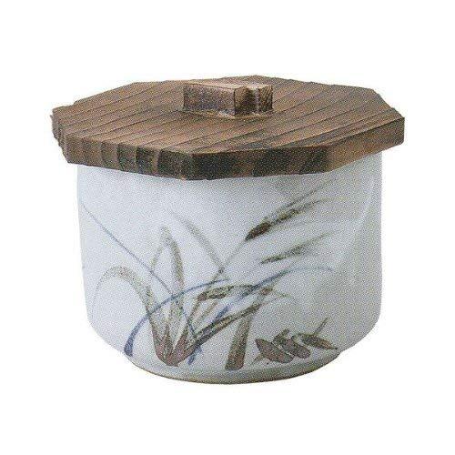 Japanese rice bowl 413dia with wooden lid ceramic Mashiko reed patternGrey