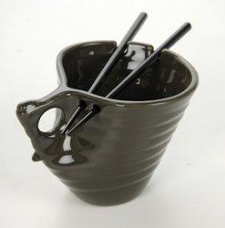 Buddha Bowl Original Udon Noodle Ramen Bowl Ceramic Chopsticks Big Mug Shitake Gray