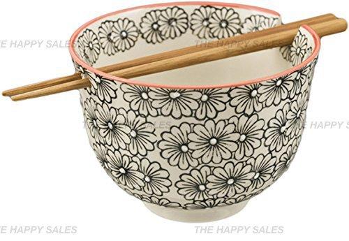 Happy Sales Ramen Udong Noodle Soup Cereal Bowl w Chopsticks Arare