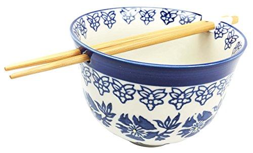 Japanese Design Blue Unison Symmetry Pattern Ceramic Ramen Udong Noodle Soup Bowl and Chopsticks Set Great Gift For College Students Housewarming Ramen Lovers Asian Living Home Decor