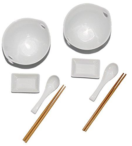 White Porcelain Ramen Bowl Set - Soup Bowl With Chopsticks Sauce Dish Hooked Spoon Set of 2