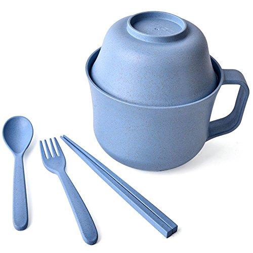 Decdeal Wheat Dinnerware Bowl Sets Unbreakable Wheat Tableware Student Instant Noodles Bowl 5pcsset