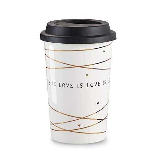 Kate Aspen 23211NA Love 15 oz Ceramic Travel Mug Coffee Cup Gift One Size Gold