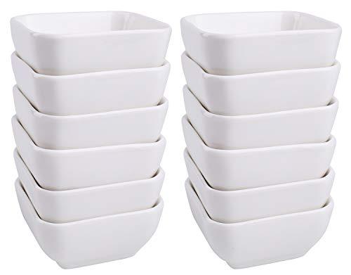 Lawei 12 Packs Ceramic Dip Bowls Set - 3 oz White Condiments Server Dishes for Sauce Vinegar Ketchup BBQ