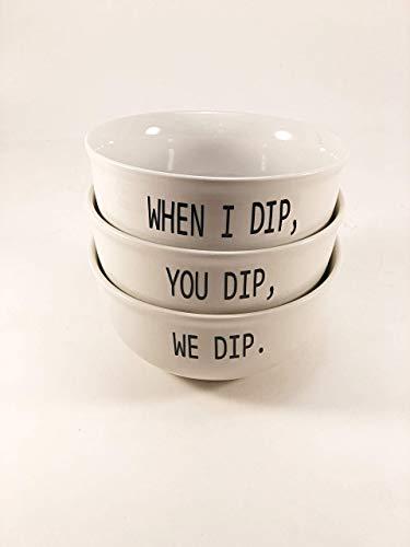 When I Dip You Dip We Dip Three Piece Set Of Dip Bowls Housewarming Gift Salsa Bowl Serving Ware