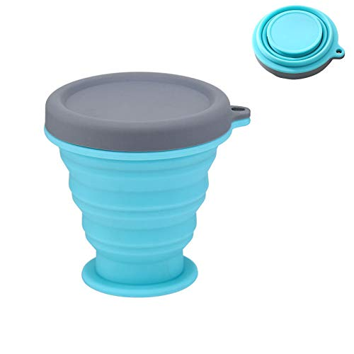 Collapsible Camping Cup Bowl Basin Silicone Folding Bucket Bowl Retractable Mug Portable Folding Travel Accessory Outdoor Cup Blue
