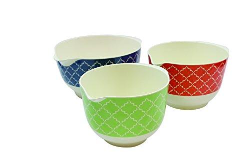 Tablecraft Farmhouse Collection Mixing Bowls Set of 3 25215 quart BlueOrangeGreen