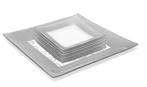 GAC Elegant Designed Square Tempered Glass Dessert Plates Set of 8 Plus Glass Square Serving Platter - Glass Completer Set – Break and Chip Resistant - Oven Proof - Microwave Safe - Dishwasher Safe