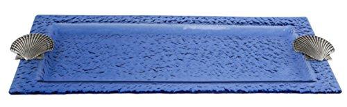 Thirstystone Glass Rectangular Tray Shell Blue