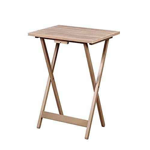Benjara 5 Piece Foldable Rectangular Wooden Tray Table Set Brown
