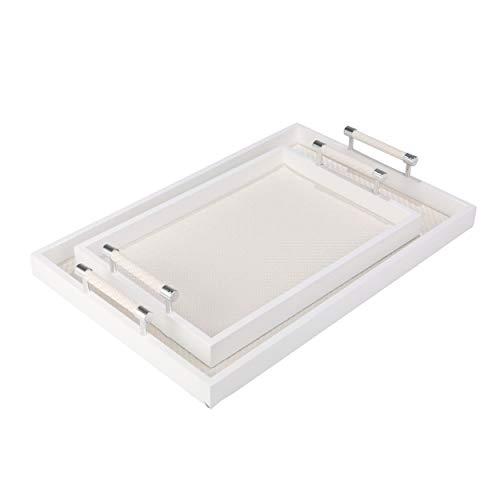 Benjara Rectangular Wooden Tray with Leatherette Base Set of 2 White