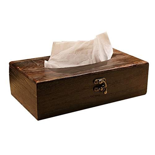 YIBANG-DZSW Creative Japanese Style Solid Wood Tissue Box Ancient Burning Paulownia Napkin Rectangular Wooden Tray