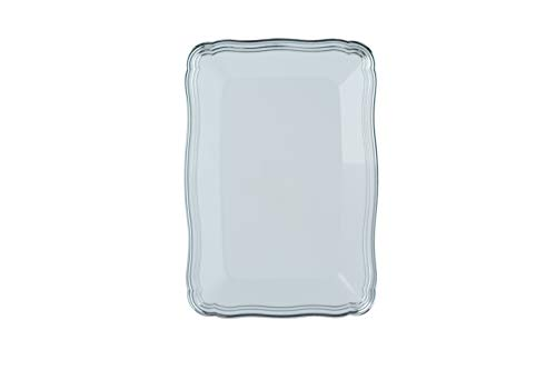Plastic Serving Tray  White Rectangular Serving Trays With Silver Rim Border Disposable Heavyweight Serving Party 9 x 13 Platters 6 Pack - Posh Setting