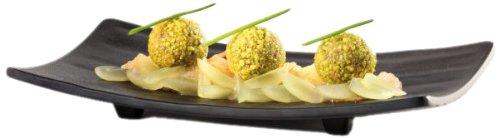Aps Paderno World Cuisine Raised Black Melamine Sushi Tray 8-78-Inch by 3-78-Inch