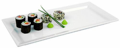Aps Paderno World Cuisine Rectangular White Melamine Sushi Tray 20-78-Inch by 7-18-Inch